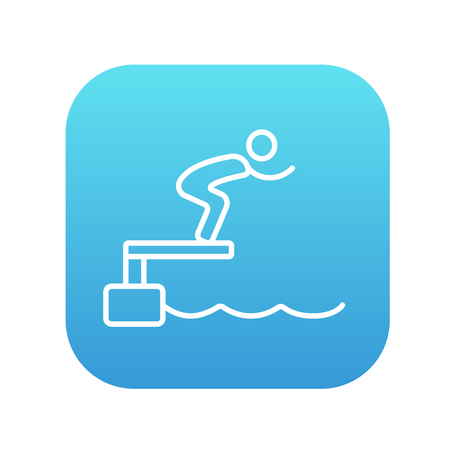 diving platform: Swimmer jumping from starting block in pool line icon for web, mobile and infographics. Vector white icon on the blue gradient square with rounded corners isolated on white background. Illustration