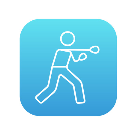knockdown: Male boxer line icon for web, mobile and infographics. Vector white icon on the blue gradient square with rounded corners isolated on white background.
