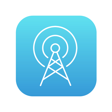 Antenna line icon for web, mobile and infographics. Vector white icon on the blue gradient square with rounded corners isolated on white background.