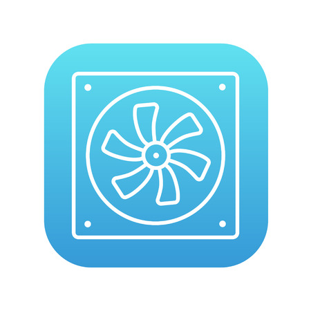 Computer cooler line icon for web, mobile and infographics. Vector white icon on the blue gradient square with rounded corners isolated on white background.