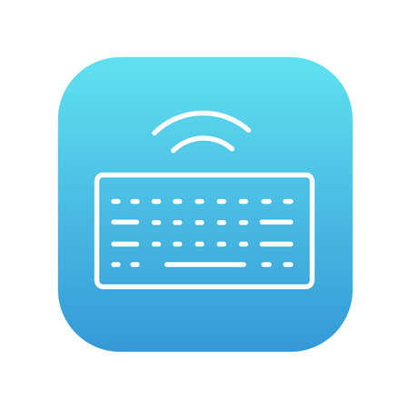 Wireless keyboard line icon for web, mobile and infographics. Vector white icon on the blue gradient square with rounded corners isolated on white background.
