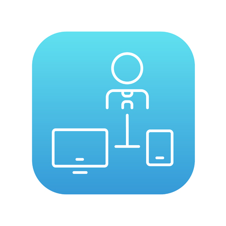 pc icon: Man linked with computer and phone line icon for web, mobile and infographics. Vector white icon on the blue gradient square with rounded corners isolated on white background. Illustration