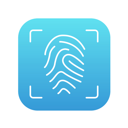 fingertip: Fingerprint scanning line icon for web, mobile and infographics. Vector white icon on the blue gradient square with rounded corners isolated on white background.