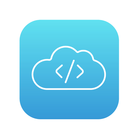 Transferring files cloud apps line icon for web, mobile and infographics. Vector white icon on the blue gradient square with rounded corners isolated on white background. Illusztráció