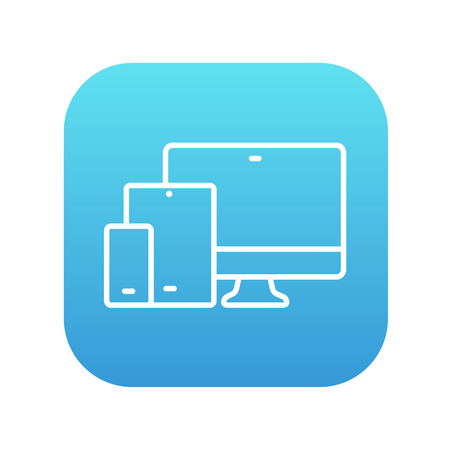 response: Responsive web design line icon for web, mobile and infographics. Vector white icon on the blue gradient square with rounded corners isolated on white background.