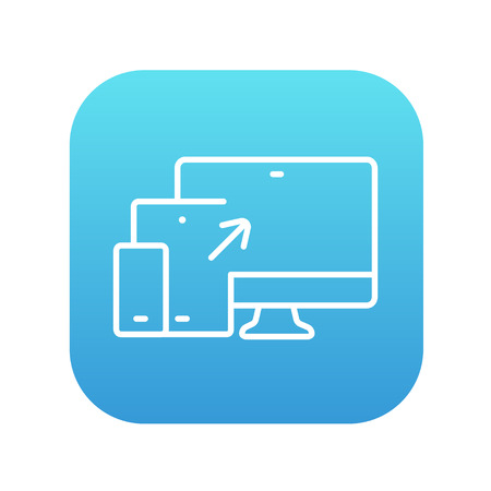 computer devices: Responsive web design line icon for web, mobile and infographics. Vector white icon on the blue gradient square with rounded corners isolated on white background.