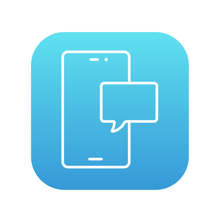 touch screen phone: Touch screen phone with message line icon for web, mobile and infographics. Vector white icon on the blue gradient square with rounded corners isolated on white background.