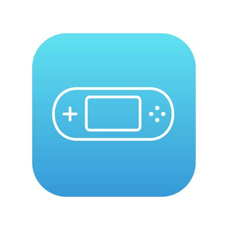 Game console gadget line icon for web, mobile and infographics. Vector white icon on the blue gradient square with rounded corners isolated on white background. 矢量图像