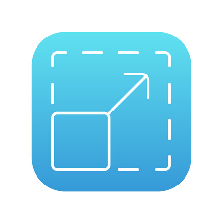 scalability: Scalability line icon for web, mobile and infographics. Vector white icon on the blue gradient square with rounded corners isolated on white background. Illustration