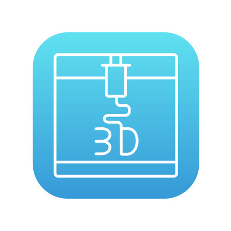 Tree D printing line icon for web, mobile and infographics. Vector white icon on the blue gradient square with rounded corners isolated on white background. Illustration