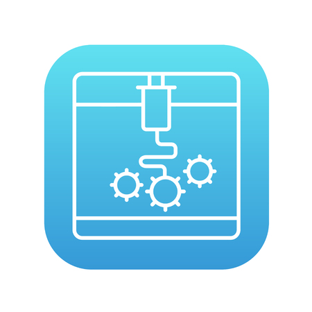 Tree D printing line icon for web, mobile and infographics. Vector white icon on the blue gradient square with rounded corners isolated on white background. Vettoriali