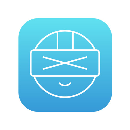 Man wearing virtual reality headset line icon for web, mobile and infographics. Vector white icon on the blue gradient square with rounded corners isolated on white background. Illustration