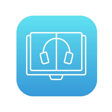 learning icon: Audiobook line icon for web, mobile and infographics. Vector white icon on the blue gradient square with rounded corners isolated on white background.
