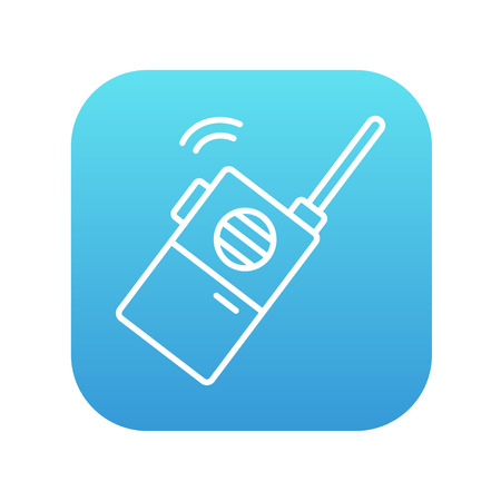portable radio: Portable radio set line icon for web, mobile and infographics. Vector white icon on the blue gradient square with rounded corners isolated on white background.