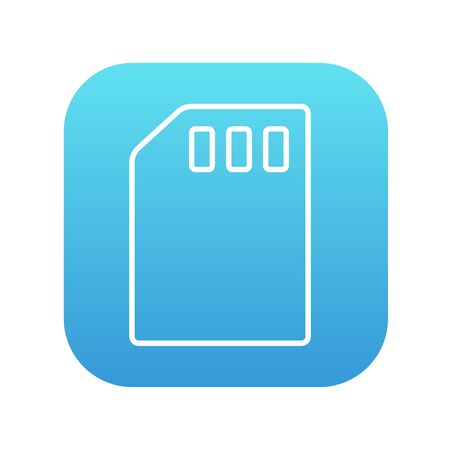 sim card: Sim card line icon for web, mobile and infographics. Vector white icon on the blue gradient square with rounded corners isolated on white background. Illustration