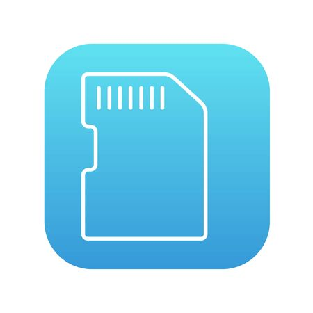gigabyte: Memory card line icon for web, mobile and infographics. Vector white icon on the blue gradient square with rounded corners isolated on white background. Illustration