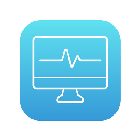 heart monitor: Heart beat monitor line icon for web, mobile and infographics. Vector white icon on the blue gradient square with rounded corners isolated on white background. Illustration
