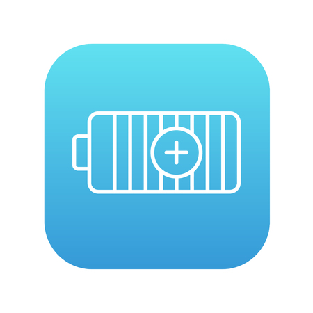 fully: Fully charged battery line icon for web, mobile and infographics. Vector white icon on the blue gradient square with rounded corners isolated on white background.