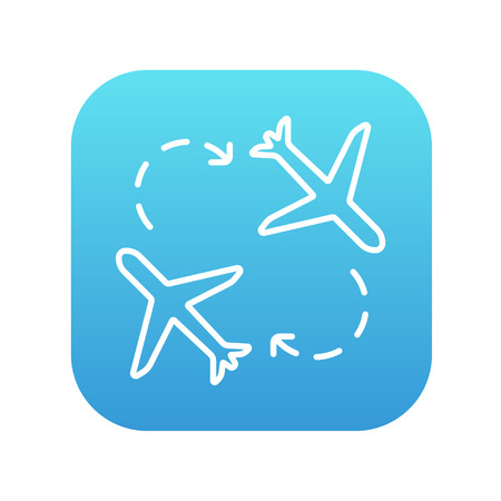 Airplanes line icon for web, mobile and infographics. Vector white icon on the blue gradient square with rounded corners isolated on white background.