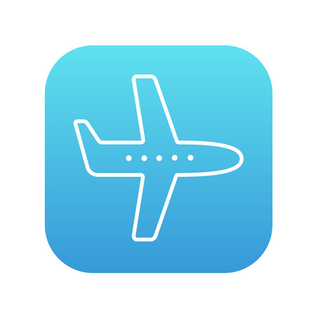 Flying airplane line icon for web, mobile and infographics. Vector white icon on the blue gradient square with rounded corners isolated on white background.