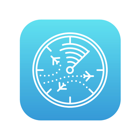 blip: Radar screen with planes line icon for web, mobile and infographics. Vector white icon on the blue gradient square with rounded corners isolated on white background.