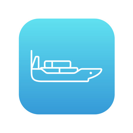 navy pier: Cargo container ship line icon for web, mobile and infographics. Vector white icon on the blue gradient square with rounded corners isolated on white background.