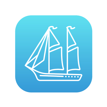 Sailboat line icon for web, mobile and infographics. Vector white icon on the blue gradient square with rounded corners isolated on white background. Stock Illustratie