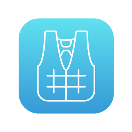 Life vest line icon for web, mobile and infographics. Vector white icon on the blue gradient square with rounded corners isolated on white background. Illustration