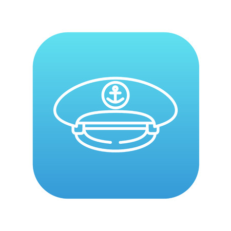 peaked: Captain peaked cap line icon for web, mobile and infographics. Vector white icon on the blue gradient square with rounded corners isolated on white background.