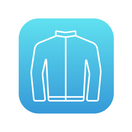 blazer: Biker jacket line icon for web, mobile and infographics. Vector white icon on the blue gradient square with rounded corners isolated on white background.