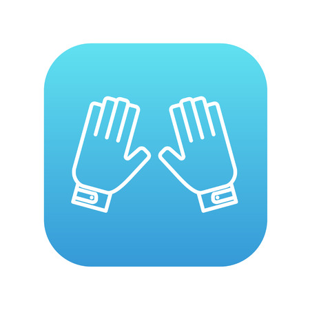 Motorcycle gloves line icon for web, mobile and infographics. Vector white icon on the blue gradient square with rounded corners isolated on white background.