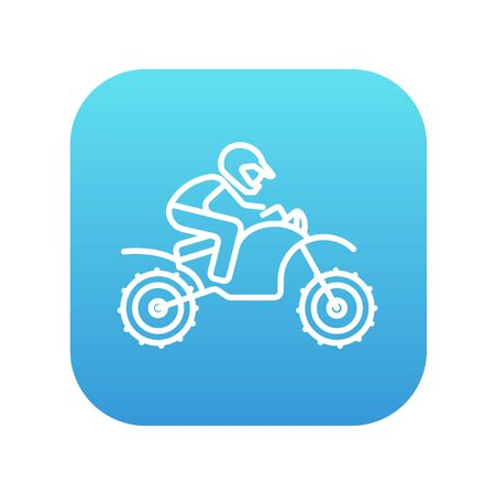 cycle suit: Man riding a motocross bike line icon for web, mobile and infographics. Vector white icon on the blue gradient square with rounded corners isolated on white background.