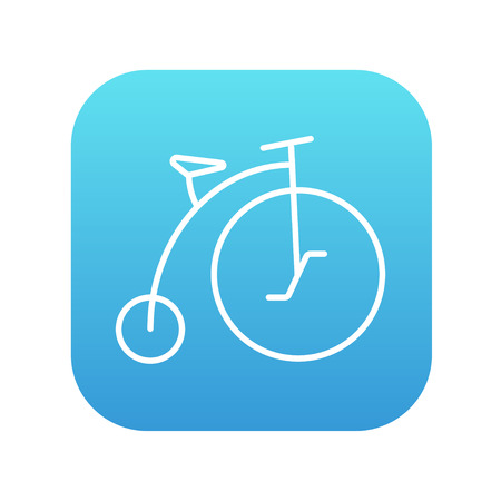big wheel: Old bicycle with big wheel line icon for web, mobile and infographics. Vector white icon on the blue gradient square with rounded corners isolated on white background. Illustration
