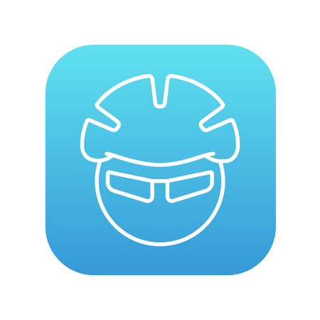 Man in bicycle helmet and glasses line icon for web, mobile and infographics. Vector white icon on the blue gradient square with rounded corners isolated on white background.