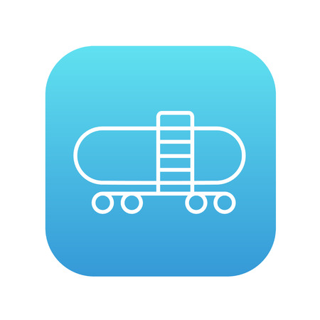 cistern: Railway cistern line icon for web, mobile and infographics. Vector white icon on the blue gradient square with rounded corners isolated on white background.