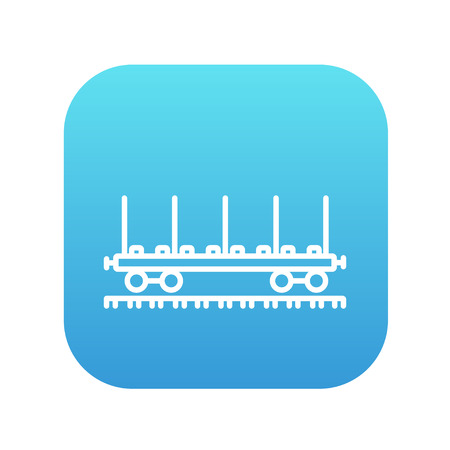 hand rails: Cargo wagon line icon for web, mobile and infographics. Vector white icon on the blue gradient square with rounded corners isolated on white background.