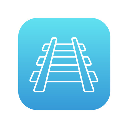 railway track: Railway track line icon for web, mobile and infographics. Vector white icon on the blue gradient square with rounded corners isolated on white background.