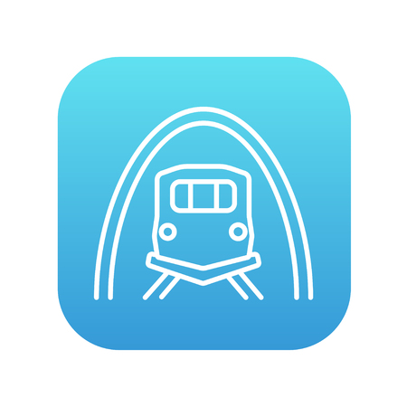 thoroughfare: Railway tunnel line icon for web, mobile and infographics. Vector white icon on the blue gradient square with rounded corners isolated on white background. Illustration