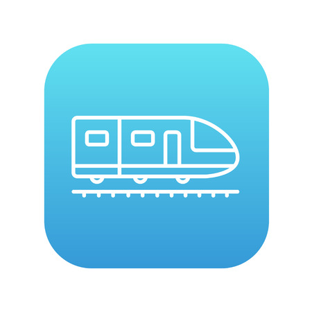 high speed: Modern high speed train line icon for web, mobile and infographics. Vector white icon on the blue gradient square with rounded corners isolated on white background. Illustration