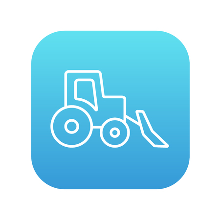 haulage: Bulldozer line icon for web, mobile and infographics. Vector white icon on the blue gradient square with rounded corners isolated on white background.