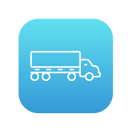 waggon: Delivery truck line icon for web, mobile and infographics. Vector white icon on the blue gradient square with rounded corners isolated on white background.