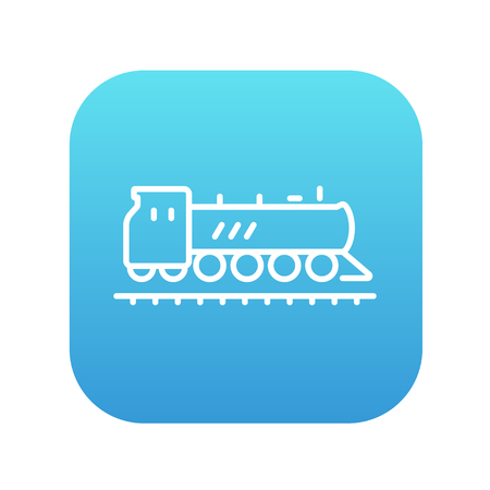 hand rails: Train line icon for web, mobile and infographics. Vector white icon on the blue gradient square with rounded corners isolated on white background.