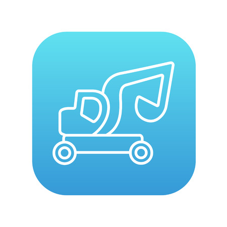 Excavator truck line icon for web, mobile and infographics. Vector white icon on the blue gradient square with rounded corners isolated on white background.