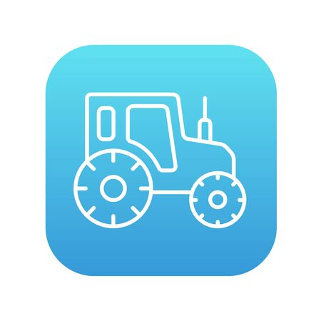 agrarian: Tractor line icon for web, mobile and infographics. Vector white icon on the blue gradient square with rounded corners isolated on white background.