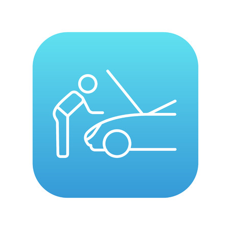 fixing: Man fixing car line icon for web, mobile and infographics. Vector white icon on the blue gradient square with rounded corners isolated on white background. Illustration