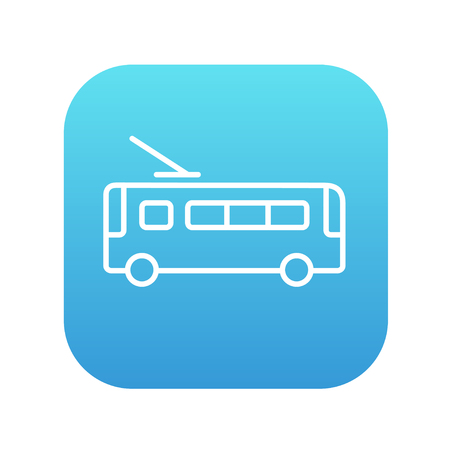 trolleybus: Trolleybus  line icon for web, mobile and infographics. Vector white icon on the blue gradient square with rounded corners isolated on white background.