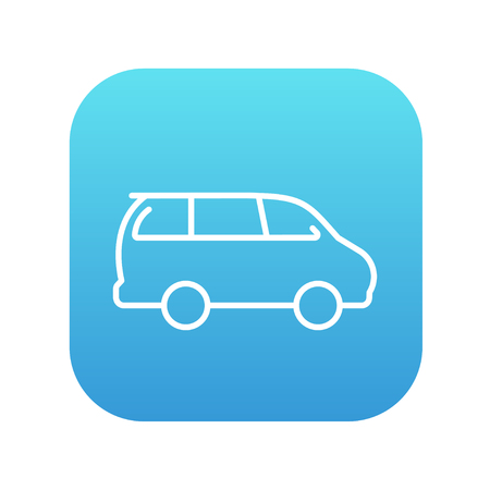 minivan: Minivan line icon for web, mobile and infographics. Vector white icon on the blue gradient square with rounded corners isolated on white background.