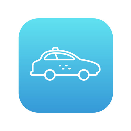 Taxi car line icon for web, mobile and infographics. Vector white icon on the blue gradient square with rounded corners isolated on white background.