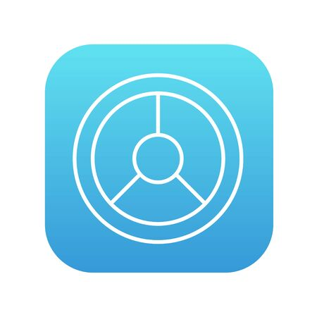 Steering wheel line icon for web, mobile and infographics. Vector white icon on the blue gradient square with rounded corners isolated on white background.