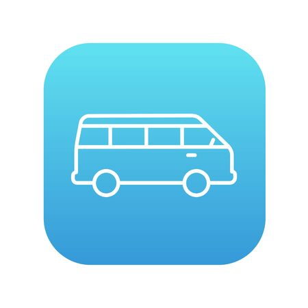 omnibus: Minibus line icon for web, mobile and infographics. Vector white icon on the blue gradient square with rounded corners isolated on white background.